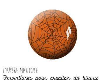 EPOXY resin 25 MM Cabochon stick Halloween Spider Web glass 25 mm M1142