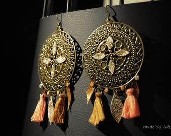 Earrings «harmony Brown & pink leather, metal, tassels, Ribbon.