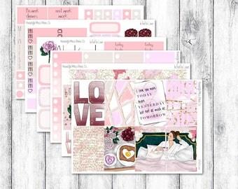 In Bed In Love // Classic Happy Planner // Weekly Sticker Kit // Valentine Sticker Kit