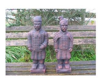 Pair Of Oriental Warriors Garden Ornaments   Heavy Concrete   44cm Tall