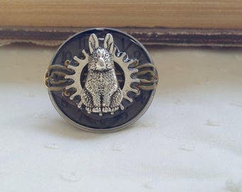 Large with a mechanical rabbit adjustable steampunk ring