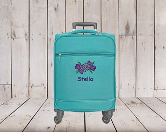 Kids Small Spinner Carry-on Luggage Personalized with Flower Embroidery