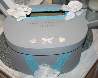urn wedding or anniversary oval grey white and turquoise hearts personalized Orchid
