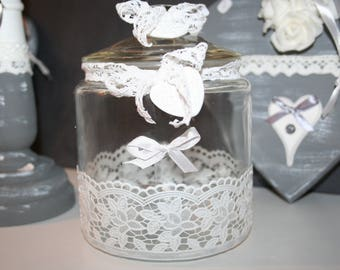 shabby lace and heart glass jar