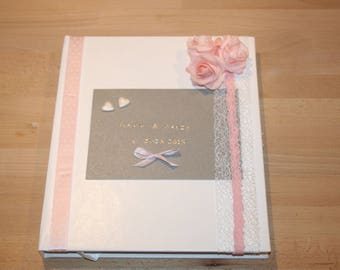 grey white wedding guest book and personalized pink tiny pale pink
