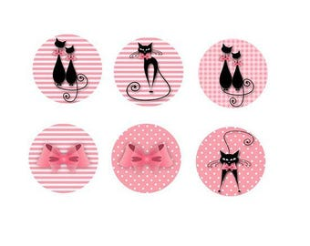 6 cabochons with black cat, 16mm