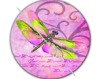 pretty cabochon 25mm, pink dragonfly