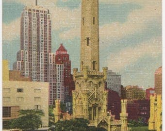 Old Water Tower and Palmolive Building - Chicago, Illinois IL - Vintage Linen Postcard