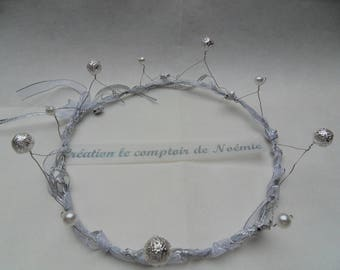 wire Crown shabby chic silver beads