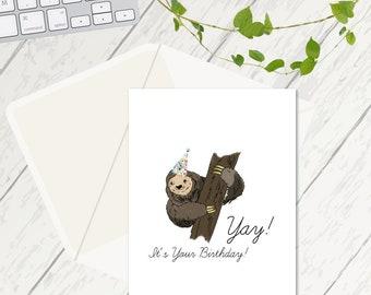 Yay! It's Your Birthday, Birthday Cards, Sloth Birthday Card, Sloth Lovers, Happy Birthday Cards, Cute Cards, Simple Birthday Card, Sloth