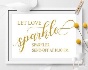 Wedding sign, Let Love Sparkle Wedding Printable, Sparkler Sign, Gold Wedding Printable, Wedding Decor, Send Off Sign, gold sparkle sign