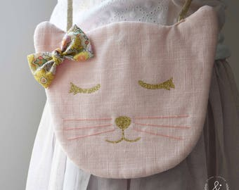Handbag Leontine naughty linen pink powder with the liberty bow of your choice