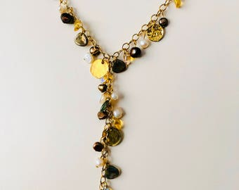 Freshwater pearl and glass bead necklace on gold chain