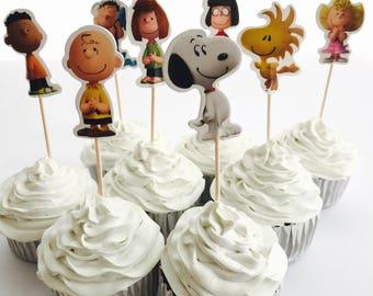 12x Peanuts Snoopy Charlie Brown Party Food Cupcake Cake Topper Pick. Party Supplies Bunting Lolly Loot Bags Favour Box