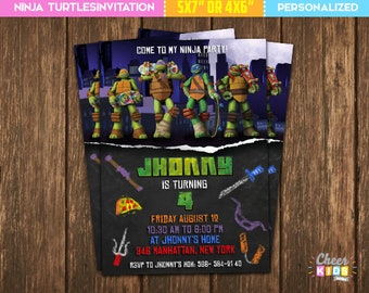 SALE!! Teenage Mutant Ninja Turtles Invitation, TMNT Invite, Digital Birthday Invitation, Printable Card, Custom Invite - Cheer-56