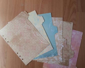 6 Shabby Chic A5 laminated,  punched planner dividers in pinks, blues and browns. Compatible with Filofax A5, Kikki K and other A5 planners.