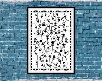 "Printable Wall Art, Art & Collectibles, Printable Mazes, Black and White Wall Art, Printable Poster Home and Office Decor, ""Flower Tangle 1"""