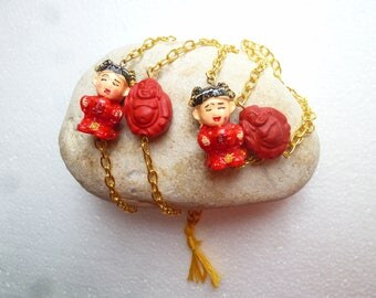 Chinoiserie and red and gold Buddha necklace