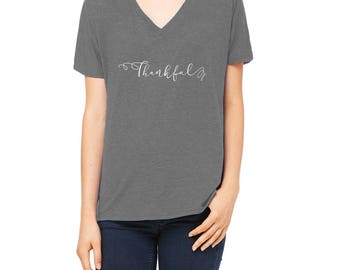 Thankful in White Lettering Ladies Slouchy V-neck