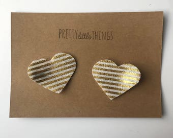 Canvas Heart Pigtail Clips