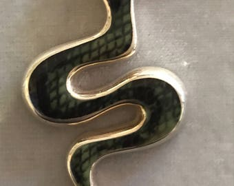 Striking Sterling Snake Pendant Necklace