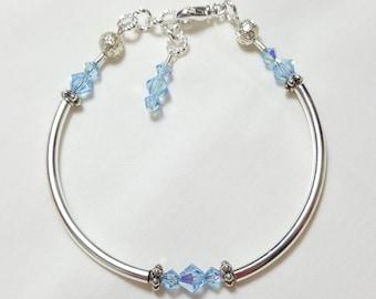 Aquamarine Blue Crystal Bangle Style Bracelet