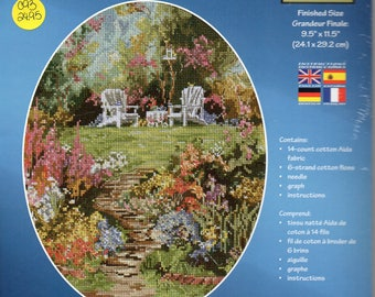 Birdsong Garden Rustic Country Floral Counted Cross Stitch Kit