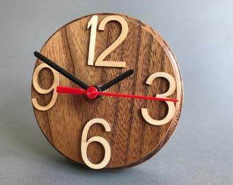 Small Wooden Elm Round Desk Clock