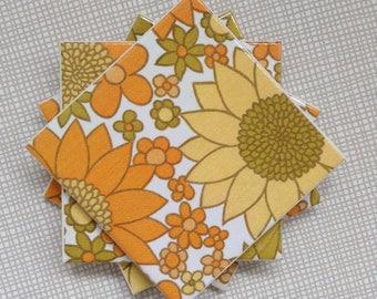 Handmade Set Of 4 Ceramic Coasters 70s Flowers Orange Yellow Drinks Mats Mugs Home Decor Housewarming Gift Christmas Present Retro Pattern