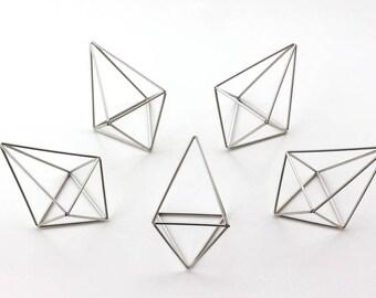 Silver Himmeli Decor, Modern Minimalist Himmeli Mobile, Geometric Ornament, Air Plant Holder