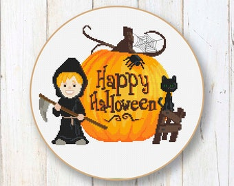 Happy Halloween Cross Stitch Pattern, Black Cat Cross Stitch Pattern, Halloween Patterns, Halloween Gift, Halloween Home Décor #hl005
