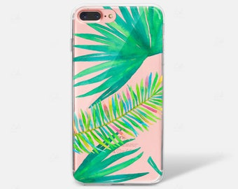 Tropical WatercolLeaves r Floral    iPhone Case iPhone 6 iPhone 7 iPhone 7 PLUS iPhone 6 PLUS iPhone X Samsung Galaxy S7 S8 Edge Clear