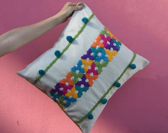 Colorful crochet pillow, tassel, decorative pompon cushion, 43 x 41, leaf, living room
