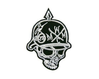 Skull Iron On Patch Biker Embroidered Patch Applique Patches For Jackets