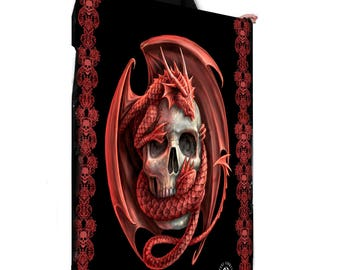 SKULL EMBRACE - Fleece / Throw / Tapestry with artwork by Anne Stokes