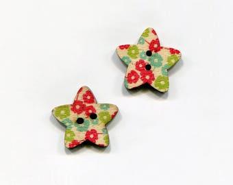 buttons 2 star 25mm * 6 flower pattern * wood