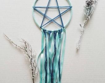 Blue Pentacle Dreamcatcher, Hand Woven Dreamcatcher
