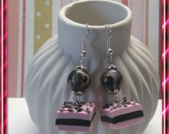Delicious earrings, pink and black licorice polymer clay