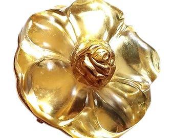 Beautiful Vintage KENZO PARIS golden Lucite/Resin Flower Brooch/Pendant 1990