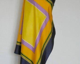 Silk scarf Yves Saint Laurent 1980.  Flower subject. Square shape. French Vintage