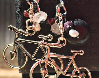 Repurposed earrings, bicycle, ceystals 1-of-a-kind