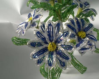 Blue flowers from beads