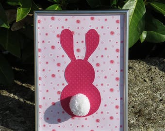 "Deco frame for child's room ""my little bunny"" colors: soft pink, fuchsia pink and tassel"