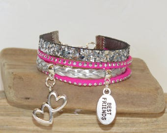 "Cuff Bracelet for girl ""best friends"" leather glitter, leather, suede - Fuchsia color"