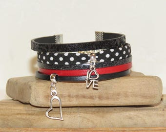 """""""Love always"""" Cuff Bracelet leather, glitter, dots, black and Red bias"""