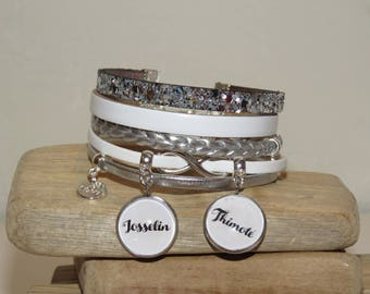 Bracelet personalized with names of your choice in color silver and white