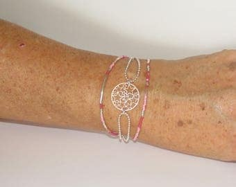 Silver, stamp perforated stars beads Miyuki Delicas, soft pink colors, fuchsia, white, silver, gift idea for woman