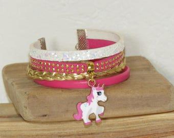 Cuff Bracelet for girl, bracelet charm girl bracelet, leather, glitter, pink, Unicorn, Unicorn, gold, pimprenellecreations