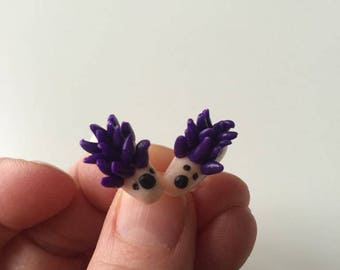 EARRING STUDS HEDGEHOGS PURPLE POLYMER CLAY