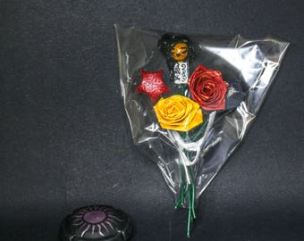Mini bouquet of paper doll black hair